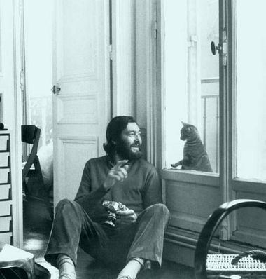 "Cortazar and cat.  Cover of ""Save Twilight"""