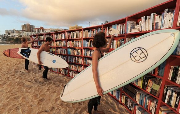 Celebrating the 30th birthday of the IKEA BILLY bookcase on Bondi Beach, Sydney, Australia